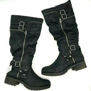 Falls Creek Knee High Riding Boots Buckle Moto